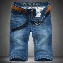 Большой размер мужской хлопок джинсовые шорты Новый летний колен пляжные шорты ежедневно Случайные короткие джинсы Размер 28-46 Без Ремня