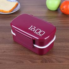 1400ml Double Layer Plastic Lunch Box Portable Big Capacity Microwave Bento Box Picnic Food Container Storage with Spoon Fork