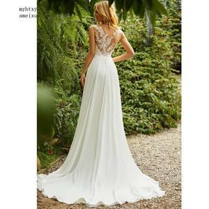 Image 4 - 自由奔放に生きるウェディングドレスoネックアップリケレースヴィンテージ王女のウェディングドレスシフォンスカートビーチ花嫁のドレス2020ホットローブデのみ