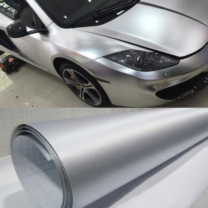 SUNICE Waterproof Vinyl Silver Tint Brushed Vinyl Car Body diy Decoration Air Bubble Free Car Styling 1.52x5m/60x196