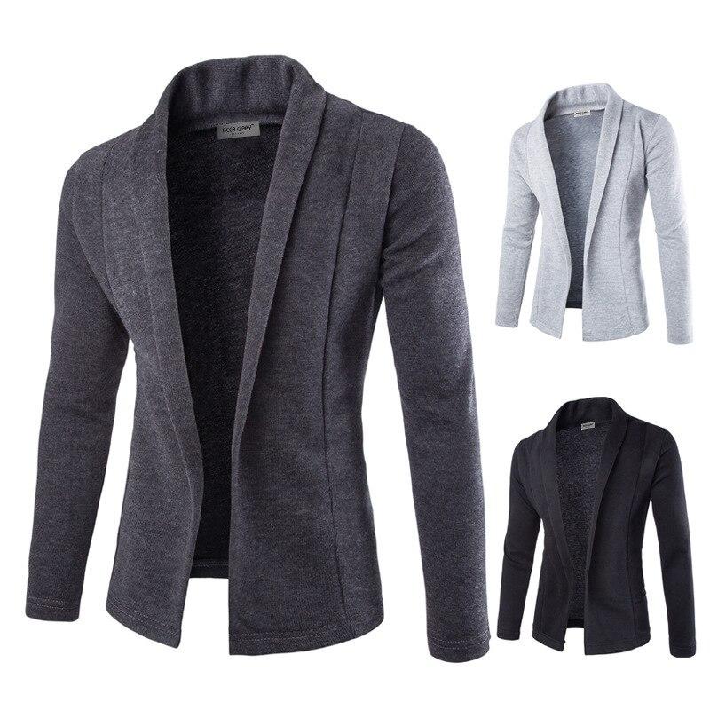 2019 offre spéciale marque-vêtements automne et hiver Cardigan homme mode solide couleur mince chandail hommes décontracté hommes chandails