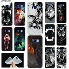 Baseus Clear Case Voor Samsung S6 S7 Rand S8 S9 S10 S11 Plus Note 8 9 10 Fundas Coque Zachte TPU Cover Mooie Wolf Ontwerp(China)