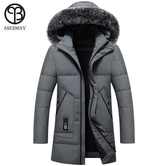 84122d3adca Asesmay new men down jacket men s winter coat thick warm casual parka  hoodies real fur mens white duck down jackets snow outwear