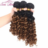 SURI Hair 12 16 Inch Double Weft Black Brown Ombre Hair Kinky Curly Hair Weaving 3pcs/lot Synthetic Hair Bundles For Women 70g
