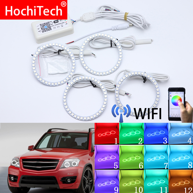 Wifi Wireless RGB Multi Color LED Angel Eye Halo Rings Day Light for MERCEDES BENZ GLK CLASS X204 280 300 320 350 2010 2011 2012
