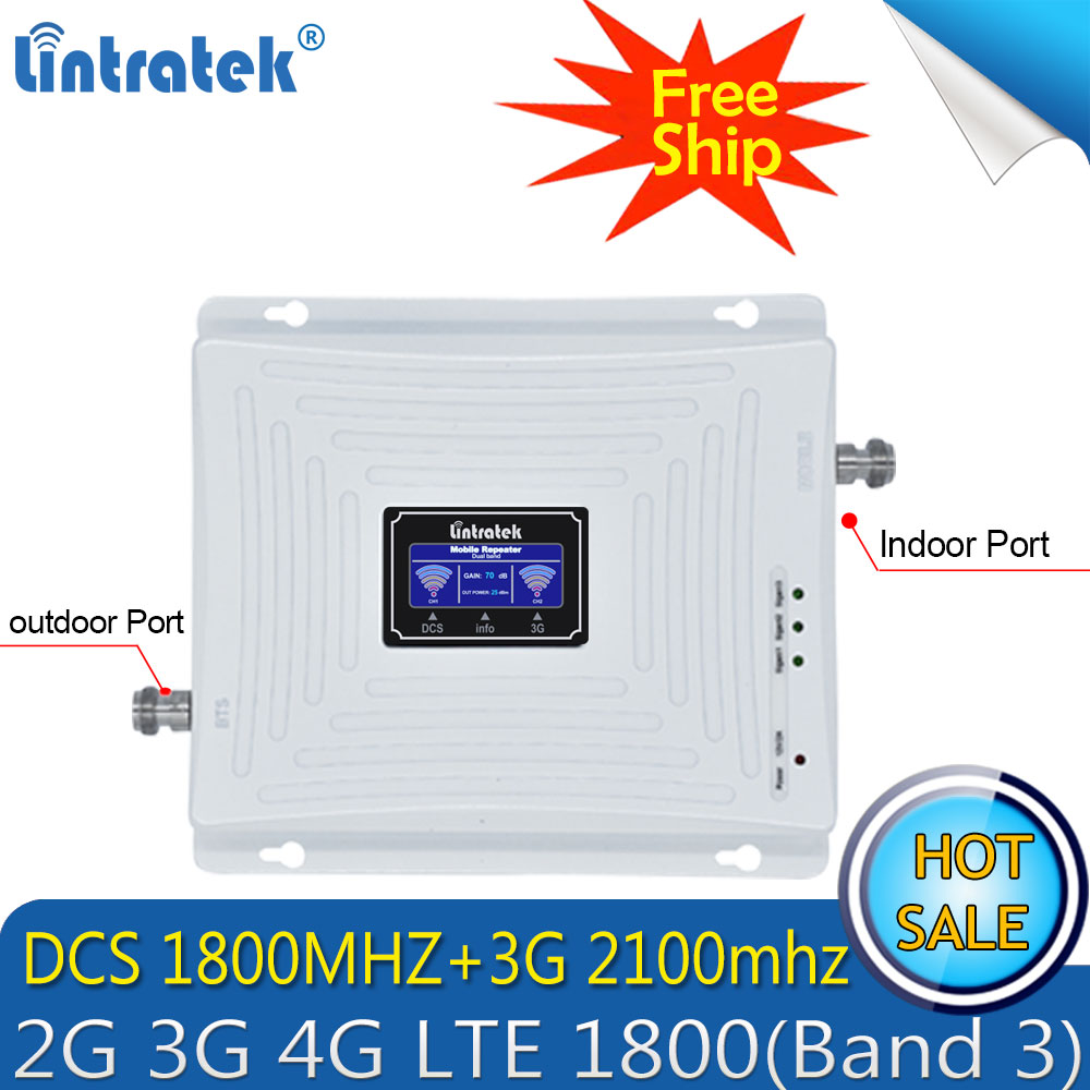 Free Shipping Lintratek 2100mhz 1800mhz Dual Band Signal Booster Mobile 2100 1800 3G WCDMA LTE 4G  Rrepeater Cellular Amplifier
