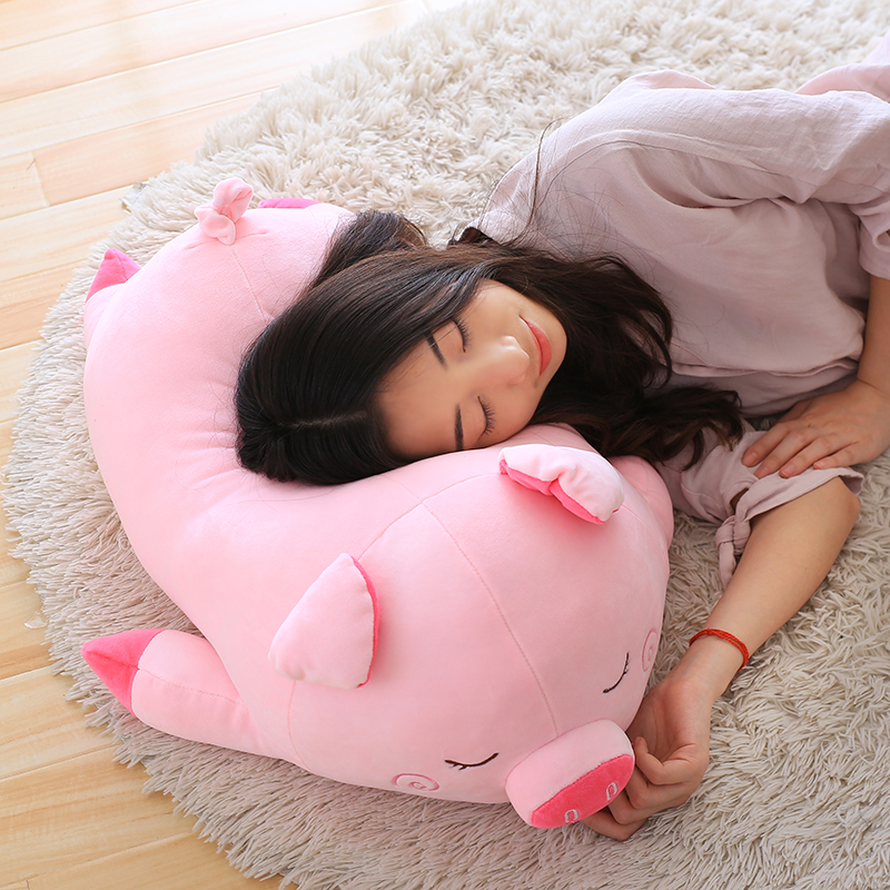 big new plush pink pig pillow toy stuffed sleeping pig pillow gift about 80cm promotion 6pcs crib bedding piece set baby bed around free shipping hot sale unpick 3bumpers matress pillow duvet