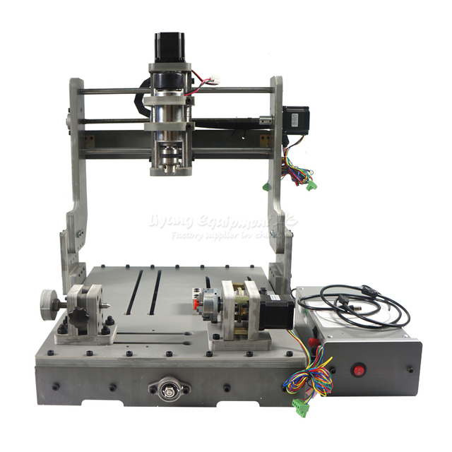 DIY CNC milling machine 3040 4 axis mini wood router DC spindle 300W