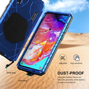 Image 5 - Telefoon Geval Voor Samsung Galaxy A70 Hard Aluminium Metal Gehard Glas Screen Protector Cover Zware Bescherming Silicon Cover