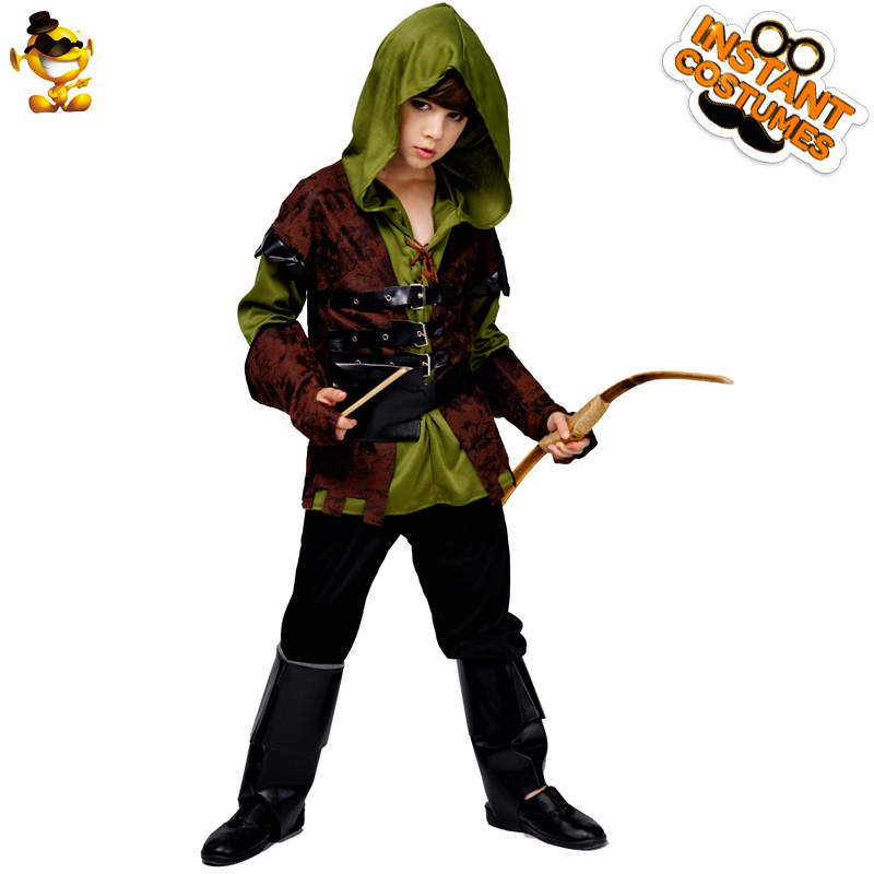 Kids Boys Robin Hood Costume Deluxe Hunters Cosplay Fancy Outfits for Party