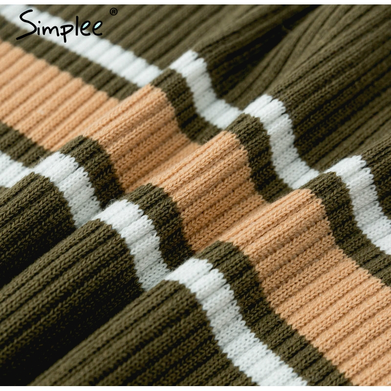 Simplee Vintage striped multicolor sweater pullover Slim retro knitted sweaters female Streetwear ladies sweater korean jumper