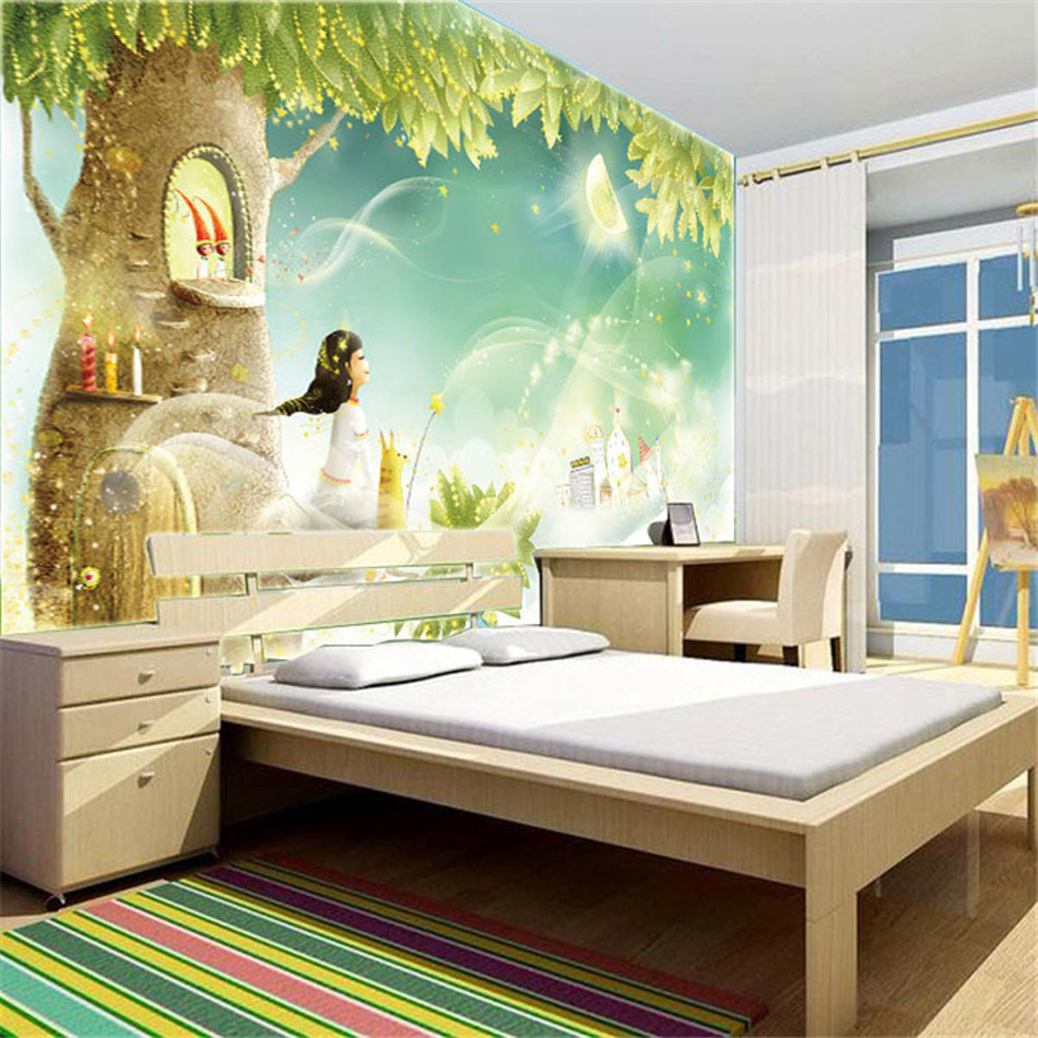Happy sunny morning cartoon girl singing bird mural - Papel pared dormitorio ...
