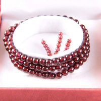 New Without Tags Fine Jewelry 5MM AA 100 Natural Red Garnet Stretch Bracelet 21 With Gift