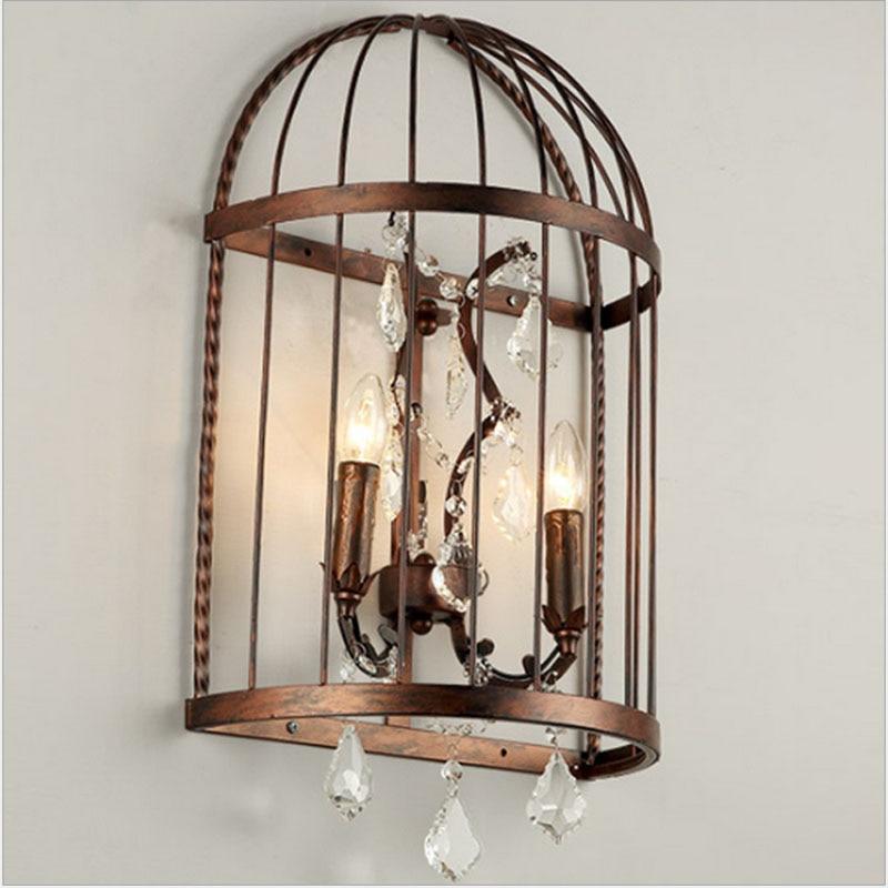 купить Nordic Birdcage Crystal Wall Lights Iron Cage Home Decor American Vintage Industrial Lamp Retro Lamparas Colgantes E14 недорого