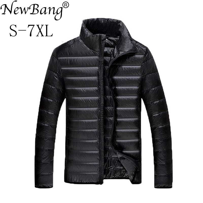 NewBang Plus 5XL 6XL 7XL Duck Down Jacket 남성용 깃털 초경량 다운 재킷 남성용 Park Outwear With Carry Bag Overcoat