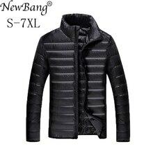 NewBang Plus chaqueta de plumón de pato para hombre, 5XL, 6XL, 7XL, chaqueta de plumón ultraligera, ropa de vestir para parque con bolsa de transporte