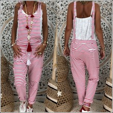 Casual Red White Striped Cargo Overalls Women Sleeveless Loose Jumpsuit Spring Summer Lace Up Long Rompers Tie Waist Long Pants halterneck striped lace up self tie top