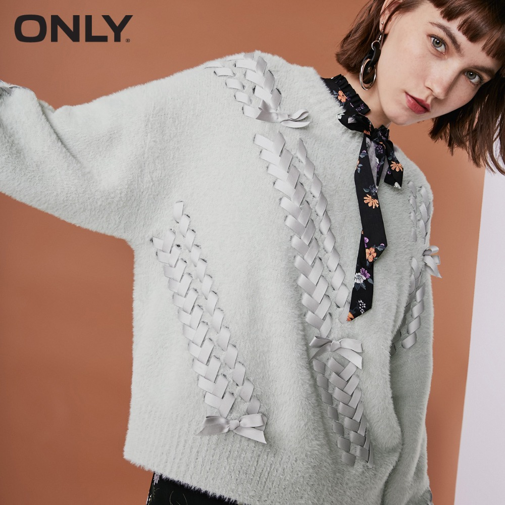 ONLY  Womens' Winter New Long Velvet Strap Round Neck Sweater Tie Bow Long Velvet Knit|118313559