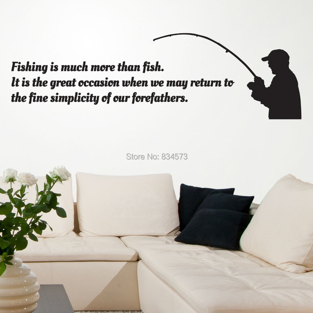 Fishing Sport Occasion Silhouette Wall Art Sticker Decal Diy Home Decoration Decor Mural Removable Room