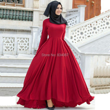 Muslim Evening Dress with Long Sleeves 2017 Red Satin Black Hijab Simple High Low Arabic Evening Gowns Dresses for Women Party