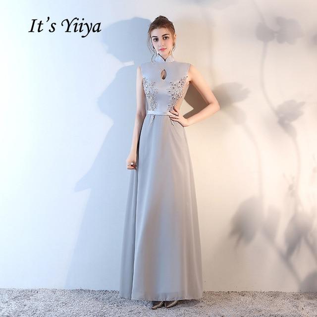 Это yiiya 2018 Новый Серый Иллюзия Высокий воротник трапециевидной формы без рукавов платья пол Длина Кружево Блёстки Вечерние платья lf870