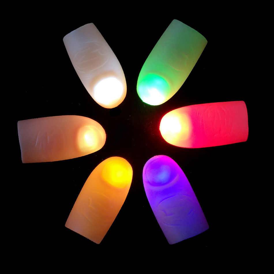 1 คู่ความคิดสร้างสรรค์เมจิก Thumb Light Red Light นิ้วมือ LED สีแดง 2 Pcs Props Magic Trick Thumb Props ส่องสว่าง soft Glow ของเล่น