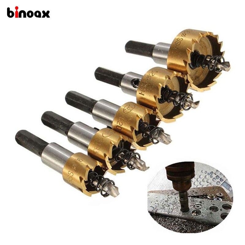 Binoax 5 Pcs Carbide Tip HSS Drill Bit Saw Set Metal Wood Drilling Hole Cut Tool