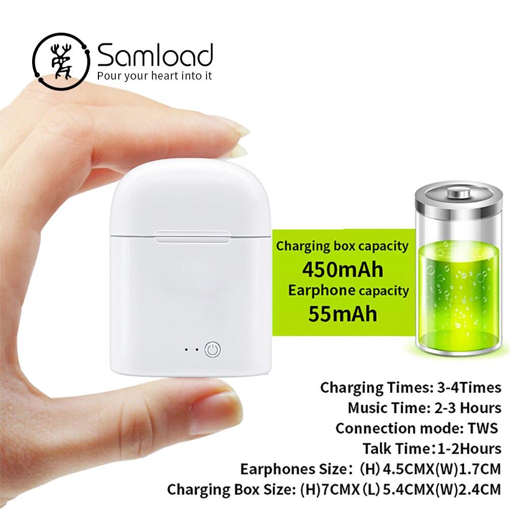 Samload Bluetooth Earbuds Wireless Earphone Stereo Headphone i7 Headsets TWS Earpieces Earphones for Bluetooth iPhone se xiaomi