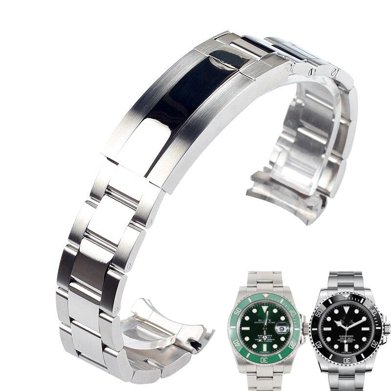 20 мм, одноцветные Ремешки для наручных часов из нержавеющей стали, ремешок для часов, серебристые мужские наручные металлические часы, браслет|Ремешки для часов| | АлиЭкспресс