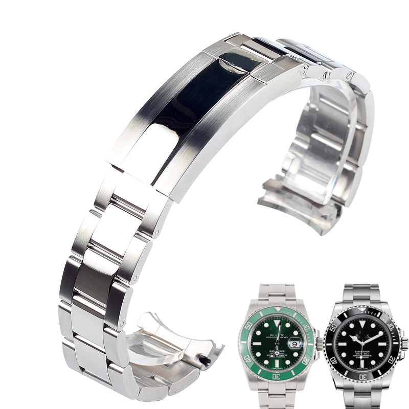 20MM Solid Stainless Steel Watchbands Watch Strap Band Silver Men's Wrist Metal Watch Bracelet