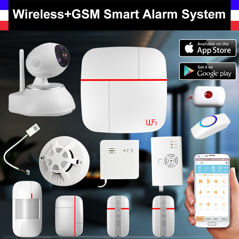 Wireless WiFi + GSM Smart Alarm System PIR Detector Door Sensor IP Camera Smoke Detector Home Security Intruder Alarm System yobangsecurity touch keypad wifi gsm gprs home security voice burglar alarm ip camera smoke detector door pir motion sensor
