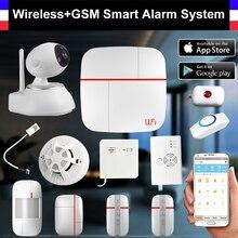 WiFi + GSM Inteligente Sistema de Alarma PIR Detector de Puerta inalámbrico Cámara IP Sensor de Humo Detector de Seguridad Para El Hogar Sistema de Alarma de Intrusión