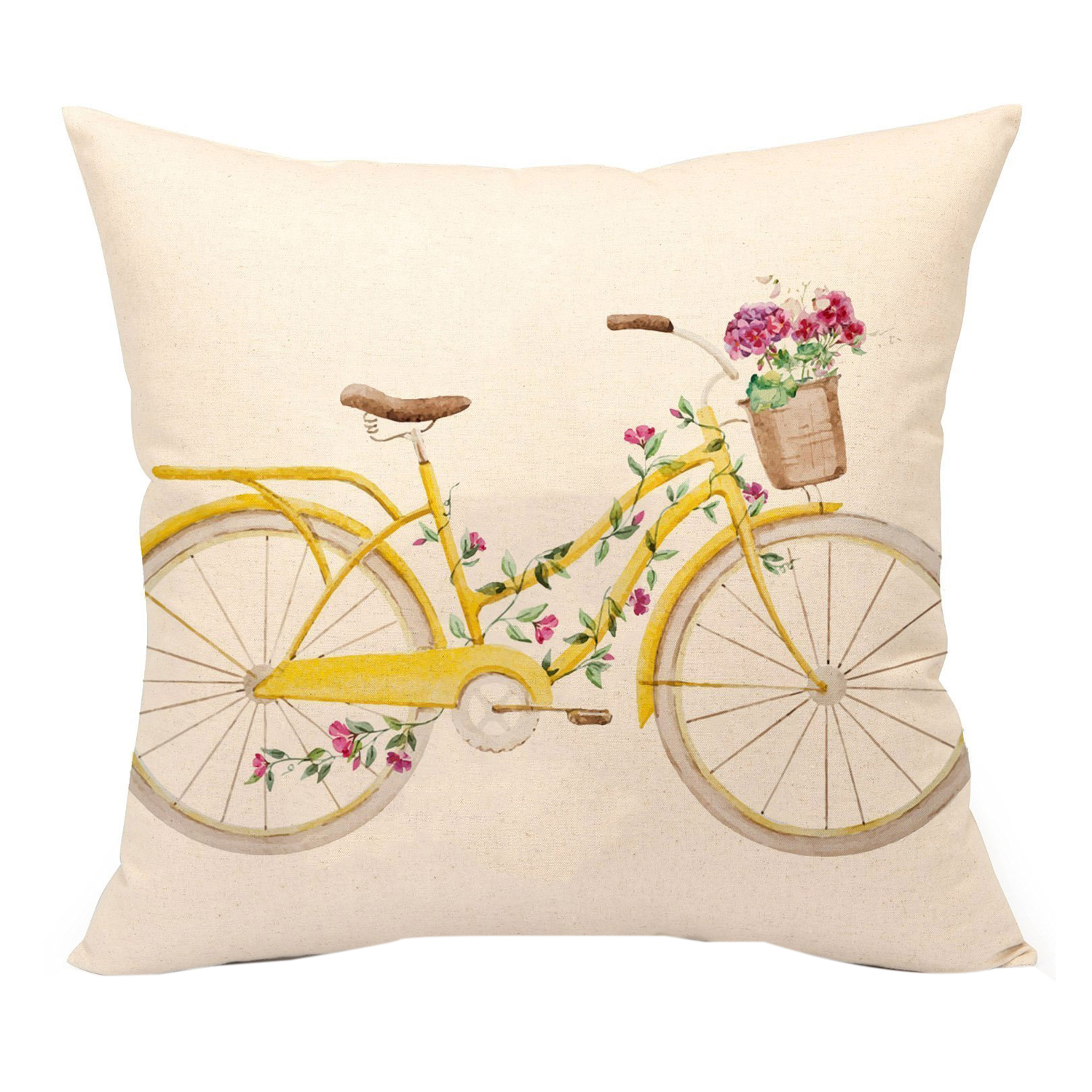 Yellow Bicycle Throw Pillow Cover Vintage Home Decorative Cushion Case 18 x 18 Inch Linen for Sofa (Flower)