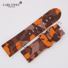 CARLYWET 24mm Wholesale Newest Camo Orange Waterproof Silicone Rubber Replacement Wrist Watch Band Strap Belt for Brand