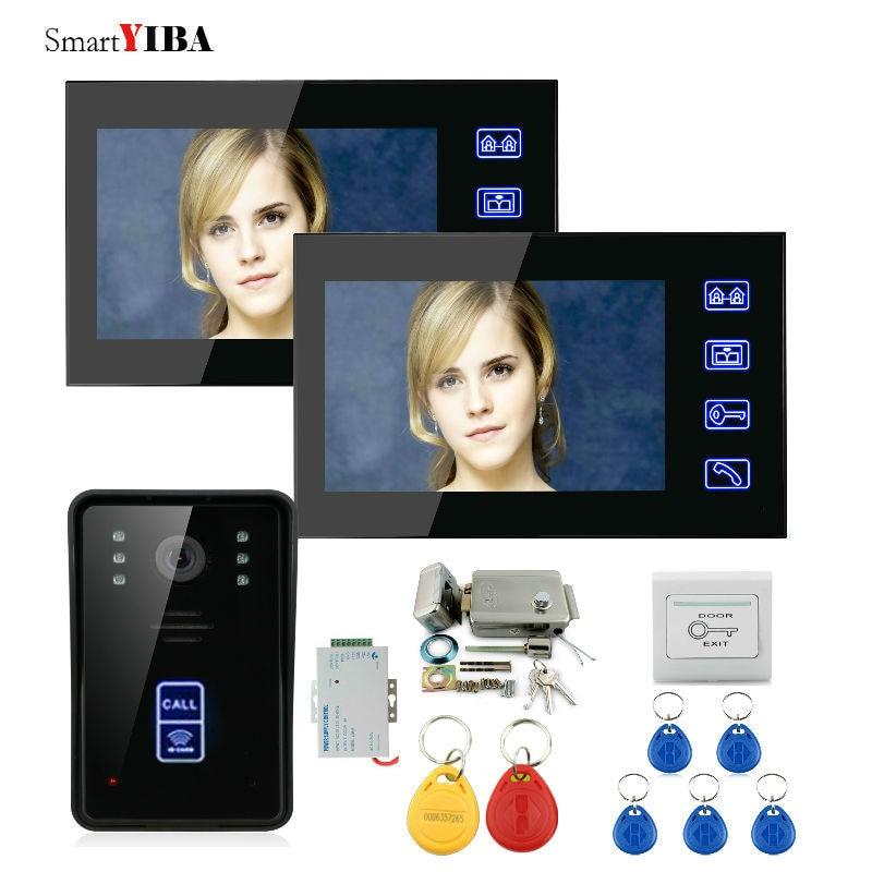 SmartYIBA 7 LCD Waterproof Touch Key Video Intercom RFID Unlock Video Door Phone Electric Door Lock+DC 12V Power Supply Control