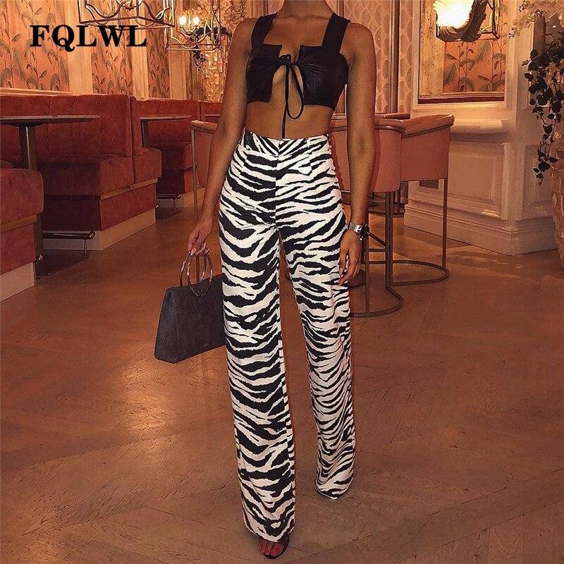 FQLWL Casual Zebra Print Wide Leg Pants Women Bell Bottom High Waist Skinny Flare Pants Female Autumn Streetwear Trousers Women