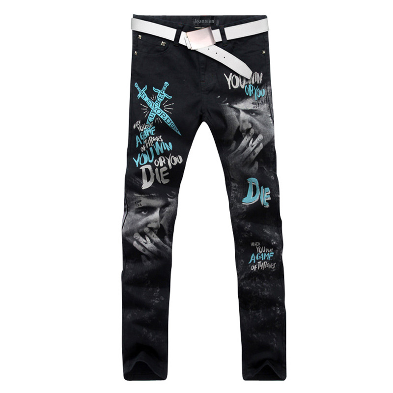 2017 new fashion straight leg jeans long men male printed denim pants cool cotton designer good quality brand trousers  MJB023