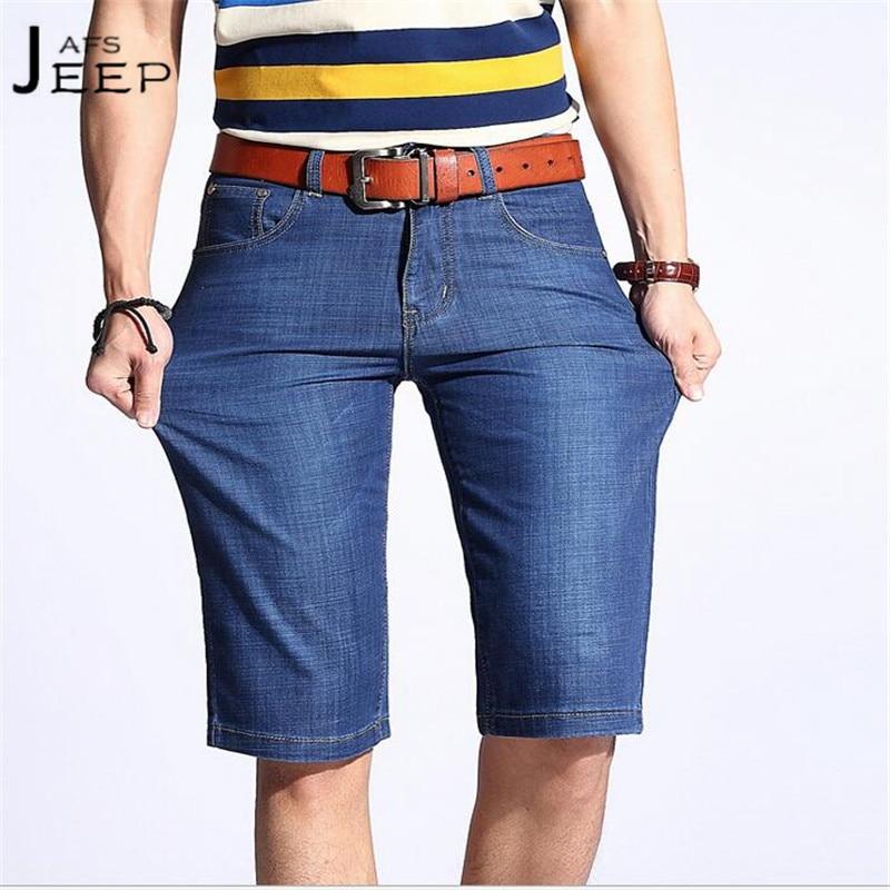 JI PU Dark Blue/Sky Blue Mans Strip Straight Short Jeans,Knee Length Fashion Design Spandex Light Elastic Cowboy shorts