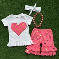 2016 Summer girls outfit hot pink heart  set capris short sleeves baby kids boutique clothes with matching necklace and headband