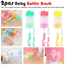 Random color 2pcs/set Baby Bottle Brush Nipple Brush 360-degree Rotating Head Cleaning Sponge Cup Brush Kit sponge brush head black