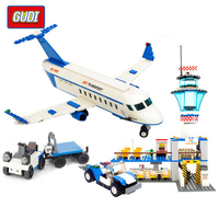GUDI 652+PCS Blocks City Air Plane Model Building Blocks International Airport Block Educational Building Toys For Children Gift