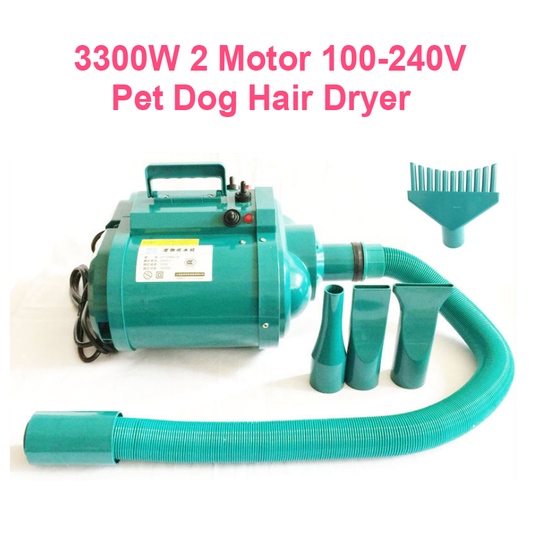 29%, 3300 W double tension 100 240 v Pet chien sèche cheveux ventilateur à faible bruit 2 moteur Stepless vent vitesse Eu Au Us Uk Plug personnalisé