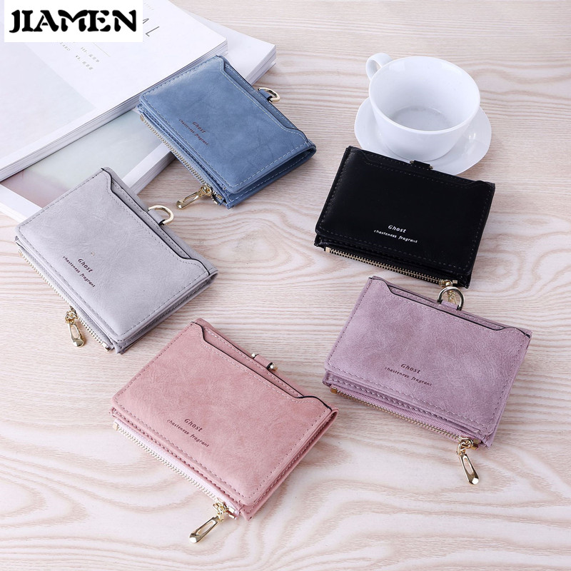 JIAMEN Women Zipper Wallet for Coin Card Cash Invoice Fashion Lady Small Purse Short Solid Smal Mini Wallet Women Carteras