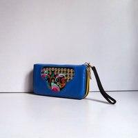 Double Zipper Embroidery Womens Wallets Flower Chinese Female Zipper