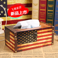European style retro British style flag Home Decorations retro wooden storage box tissue boxes decorated wooden carton