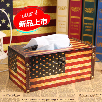 European-style retro British style flag Home Decorations retro wooden storage box tissue boxes decorated wooden carton