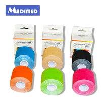 6 rolls/lot Hohe quanlity Synthetische Kinesiologie Tape 5cm * 5m Viskose rayon Kinesioshiny Band für Athleten und Sport Sicherheit
