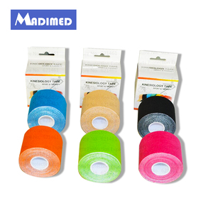 Image 1 - 6rolls/lot High quanlity Synthetic Kinesiology Tape 5cm*5m Viscose rayon Kinesioshiny Tape for Athletes and Sports Safety