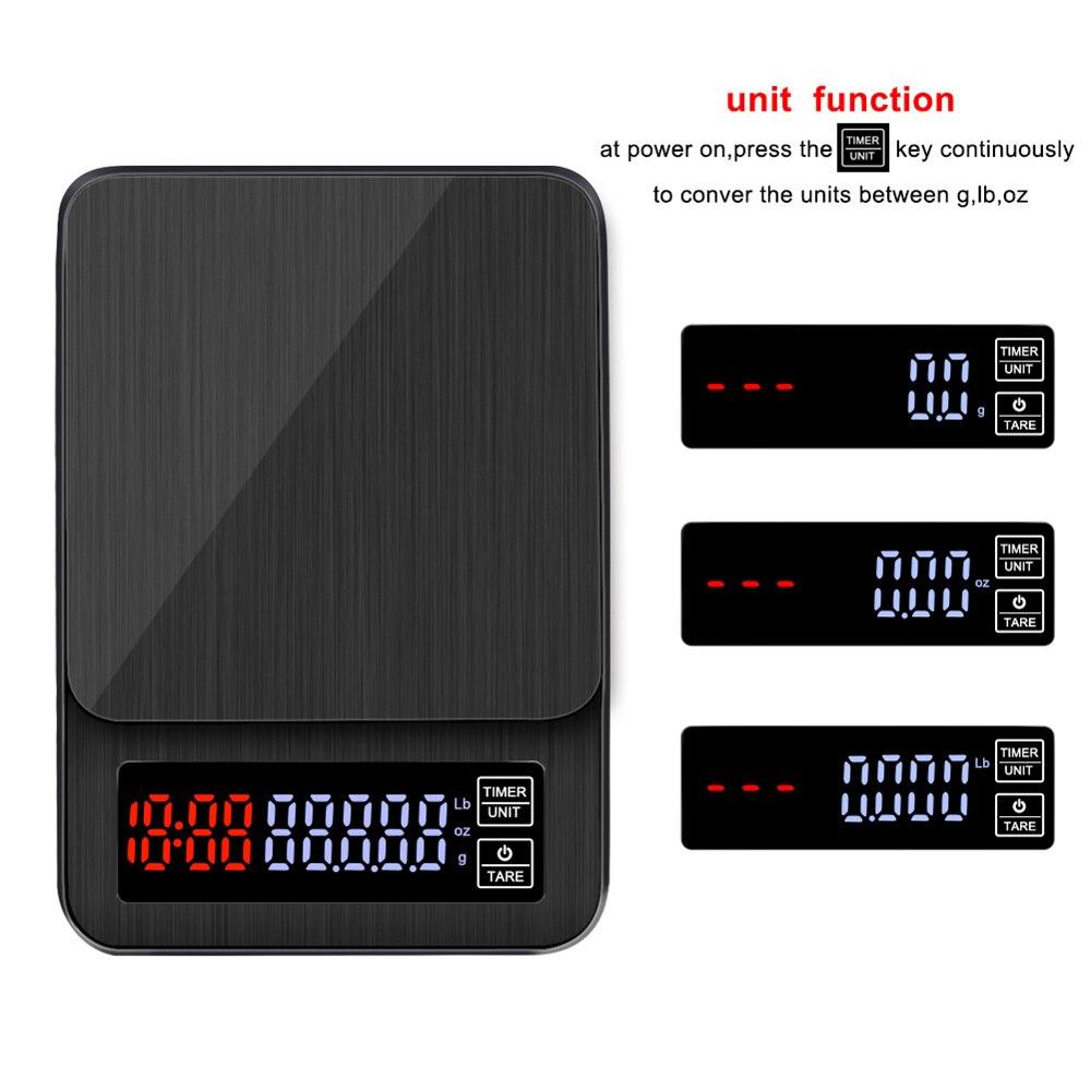 Alta Precisão Balança de Cozinha Digital Temporizador 5 kg/0.1g Eletrônico Equilíbrio de Peso Escala De Café com Café Temporizador Recarregável