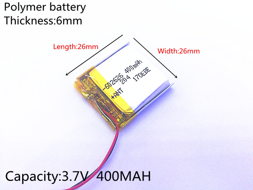 3.7V 400mAh 602626 <font><b>602525</b></font> Lithium Polymer Li-Po li ion Rechargeable Battery cells For Mp3 MP4 MP5 GPS PSP mobile bluetooth image